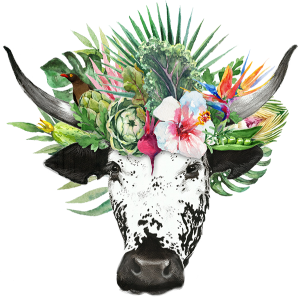 Nguni logo element of the cow head with plants and vegetables